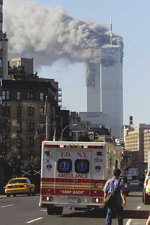 Twin Towers are burning