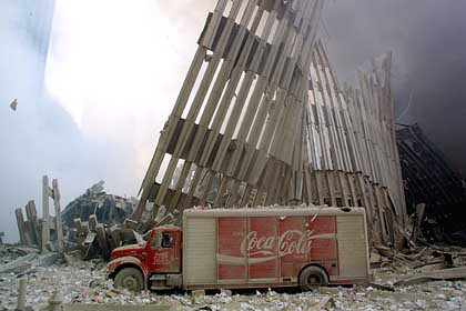 Abandoned Coca-Cola truck at WTC site